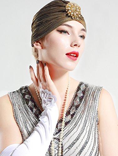 BABEYOND Women's Turban Hat With Crystal Vintage Head Wrap Knit Pleated Turban (Dark Gold)