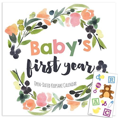 Undated Keepsake Milestone Calendar for Baby's First Year with 75 Baby Milestone Stickers