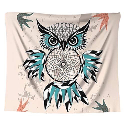 N/A Impresión 3D de tapices Tapiz de Animales Bohemios Tapiz de búho Mandala Alfombra Colgante de Pared decoración de Sala de Estar Toalla de decoración del hogar Indio Regalo de Picnic