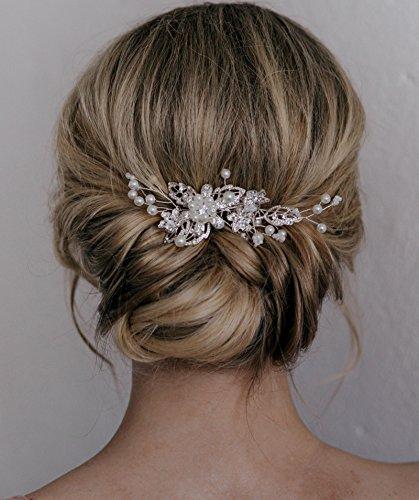 SWEETV Braut Haarkamm Clip Pin Strass Perle Hochzeit Haarschmuck für die Braut Brautjungfer, Silber