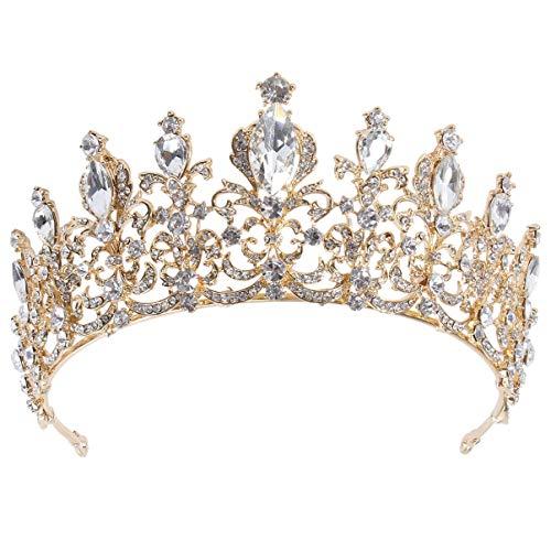 FRCOLOR Corona de Reina Barroca de Cristal Tocados de Novia Diadema de...