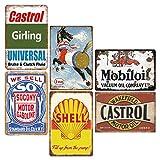 6 Stück Retro Vintage-Blechschilder, Wand-Metall-Poster,