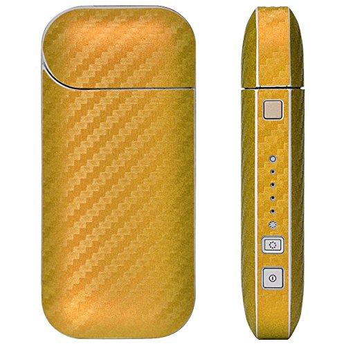 iQOS アイコス 専用 スキンシール メタルオレンジカーボン 柄 表面・裏面&側面セット 2016年発売バージョン対応 decotto
