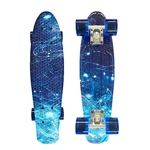 Mini Cruiser Skateboard Retro Komplettboard, Kinder Retro Skateboard mit LED LeucCruiser-Board, Geschenk für Erwachsene Jugendliche Kinder Jungen Mädchen, Skateboard, 55cm/22