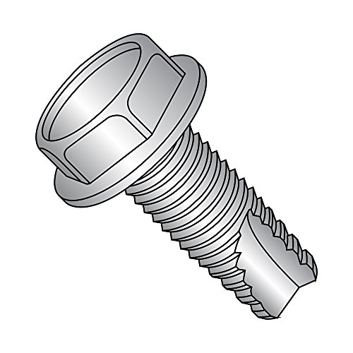 18-8 Stainless Steel Thread Cutting Screw, Plain Finish, Hex Washer Head, Type 23, 1/4