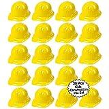 Anapoliz Toy Construction Hard Hats | 20 Pcs. Soft Plastic Yellow Kids Party Hat | Children's Engineer, Building Dress Up Hats | Theme Favor Caps