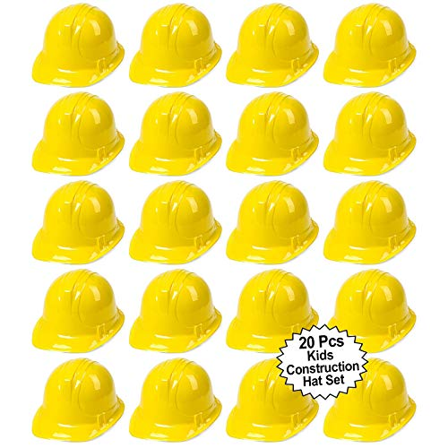 Great Features Of Anapoliz Toy Construction Hard Hats | 20 Pcs. Soft Plastic Yellow Kids Party Hat |...