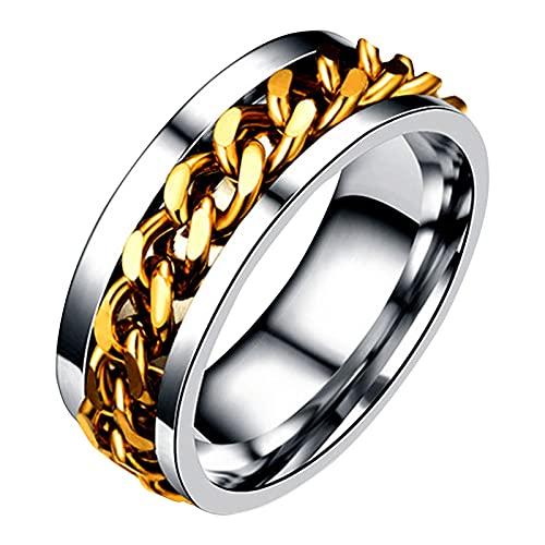 Younoo1 Anillo Spinner 2 en 1 abrebotellas, anillo Fidget de acero inoxidable, anillo de ansiedad para hombres