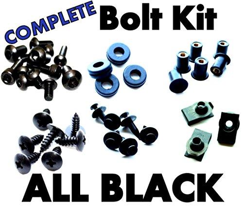 Complete Black Fairing Bolt Kit Screws Fasteners for Yamaha YZF R6 1998-2002