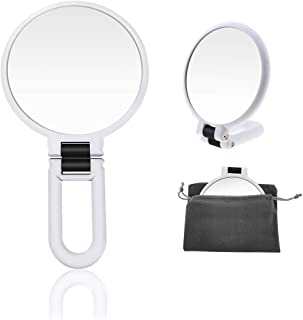 15x Magnifying Handheld Mirror,High Definition Magnified Mirror,Travel Folding Double Sided Pedestal Makeup Mirror,1/15x Magnification Compact Size Portable Vanity Standing Round Cosmetic Mirror (whit