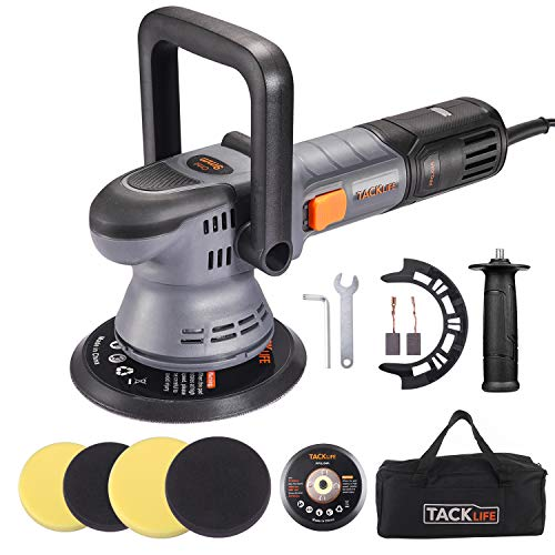 TACKLIFE Pulidora Coche, Pulidora excentrica, 6 velocidades Variables 1500RPM-6400RPM, Base 150-mm/125-mm, D-Mango Desmontable/Mango Lateral, 3M Cable, Lijadora para...