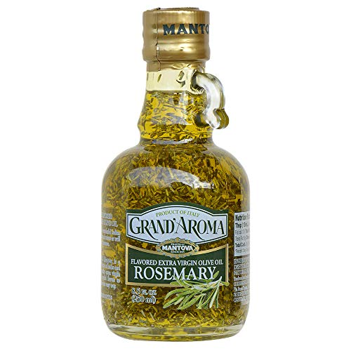 Mantova Grand'Aroma Rosemary Flavored Extra Virgin Olive Oil, made in Italy, cold-pressed, 100% natural, heart-healthy cooking oil perfect for salad dressing, pasta, garlic bread, meats, or pan frying, 8.5 oz