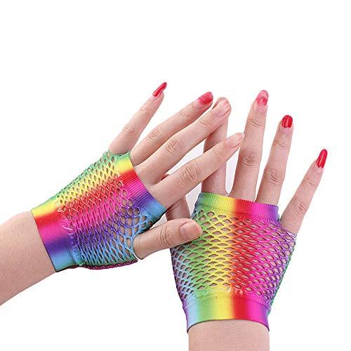 YuanNa Regenbogen Spitze Stirnband Neon Ohrringe Fingerlose Netzhandschuhe Kurze Handschuhe Frauen Nylon Graben Fischernetz für 80Er Jahre Party Halloween