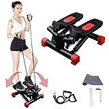 Sinbide Fitness Stepper, Mini Stepper de Fitness, 2 en 1 avec Guidon Élastiques et écran Multifonctions, Exercices Jambes Bras (Rouge)