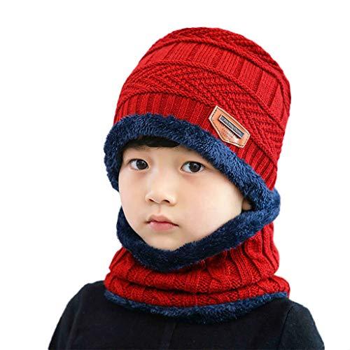 RG-FA Niños Invierno 2pcs Crochet Knit Felpa Forrada Gruesa Gorro Círculo Bufanda Set - Vino Rojo
