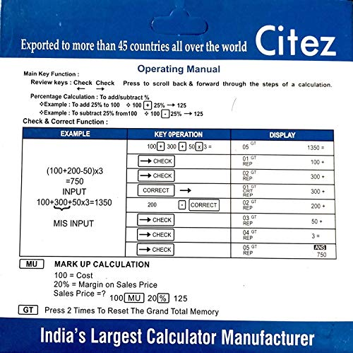 Laxmi Narayan Made in India CITHZEN CT-512 GC Basic Calculator for Students; Office; Shops (Black; Large Display)