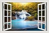 Adhesivo decorativo para pared, decoración para el hogar, adhesivo de vinilo, diseño de cascada y bosque, paisaje de naturaleza en 3D, W0815, 32X48