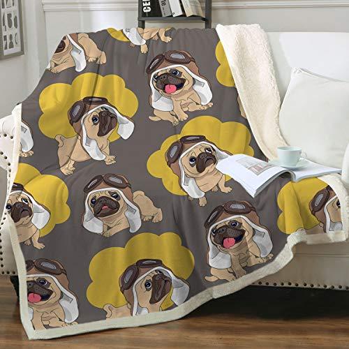 Sleepwish Cute Pug Fleece Blanket
