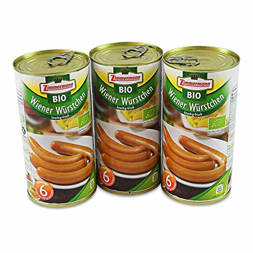 BIO Wiener Würstchen 3er Pack (3 Dosen à 6 Stück / 250 g)