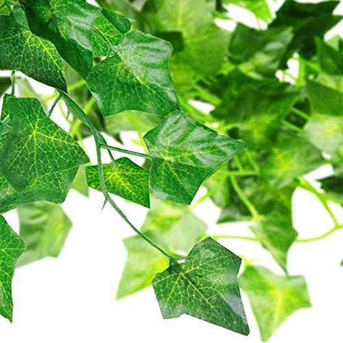 MUFENA 12 piezas de guirnalda de hiedra artificial, 90 pies de vid, resistente a los rayos UV, planta falsa para colgar plantas de vid, boda, fiesta, jardín, decoración de pared