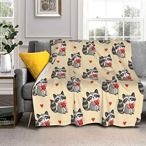 Gaoxu Love Raccoon Fleece Blanket Throw Soft Cozy Warm Comfy Microfiber Bed Blanket Couch Home Decoration Throw Blanket