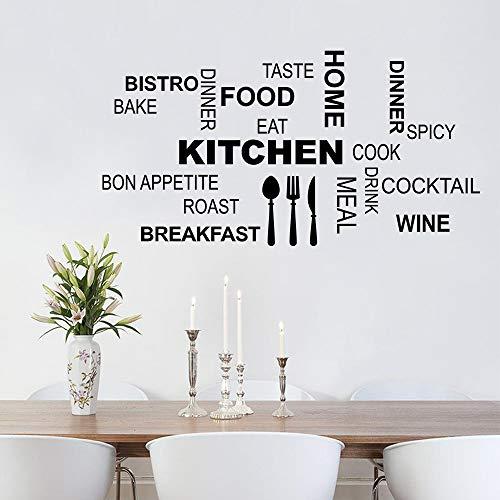 decalmile Wandtattoo Sprüche und Zitate Küche Wandsticker Lebensmittel Messer Gabel Löffel Wandaufkleber Wohnzimmer Esszimmer Wanddeko