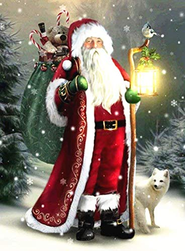 DIY Handwork Store 5D Santa Claus Diamond Painting Kits for Adults Kids Paint by Numbers Full Round with AB Drills Cross Stitch Mosaic Making Arts Crafts Embroidery Home(15.6''X 21.5'')