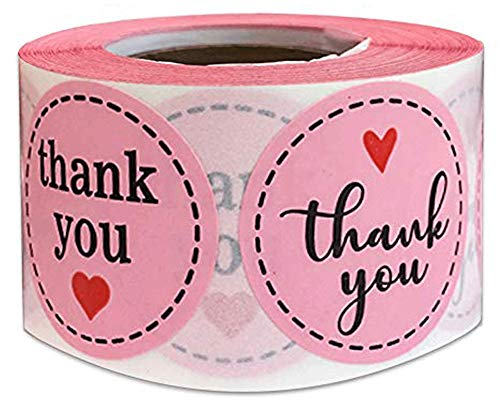 Pink Thank You Stickers 1.5 Inches - 500 Round Thank Labels with Hearts for Birthday Baby Shower Party Thank You Cards Envelope Seals | Labels & Mailing Supplies (Pink Round)