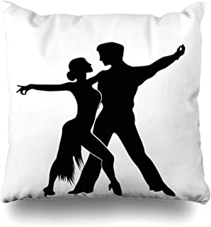 Ahawoso Throw Pillow Cover Decorative Square 16x16 Salsa Dancers Silhouettes Isolated Grouped Music Objects Romance Design Fun Graphic Signs Symbols Cushion Case Home Decor Zippered Pillowcase
