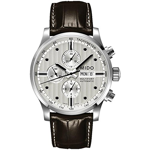 Mido Men's Multifort 44mm Brown Leather Band Steel Case Automatic Grey Dial...