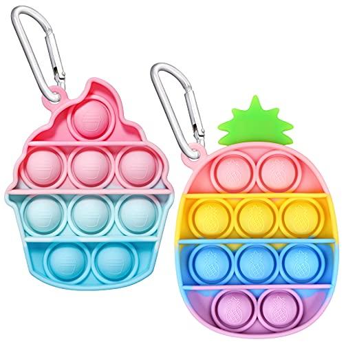 EVERMARKET Push Pop Bubbles Fidget Sensory Toy Keychains, 2 Pack Mini Ice Cream Pineapple Bubble Popper Stress Reliever Silicone Relax Toys Keychain, Rainbow Color Pop Bubble Fidget Block Toys