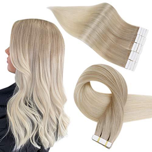 Easyouth Ruban dans Extension de Cheveux Humain Balayage Couleur Blonde Cendrée se Fanant en Blonde Platine Hair Extensions Ruban D'Extensions Adhesive Cheveux Naturel 12pouce 30g 20Pcs