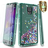 Note 4 Case Galaxy Note 4 Case with Tempered Glass Screen Protector [2 Pack],YmhxcY Glitter Liquid Waterfall Flowing Sparkle Shiny Diamond Girls Cute Phone Case for Galaxy Note 4-AX Teal