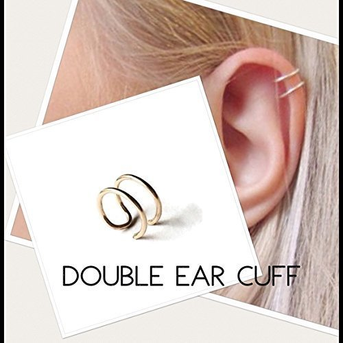 Double Ear Cuff/Fake Cartilage Earring 925 Sterling Silver or 14k Yellow/Rose Gold Filled