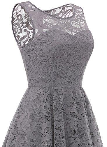 MUADRESS MuaDress 6006 Elegante Abendkleider Cocktailkleider Damenkleider Brautjungfernkleider aus Spitzen Knielange Rockabilly Ballkleid Rund Ausschnitt Grau S