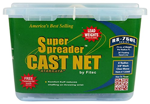 Fitec RS750-L Super Spreader Cast Net Clear 7' Radius, 3/8' mesh, 3/4 Lb Lead WTS