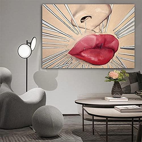 5D DIY Pintura de Diamante de Kits Labios rojos sexy Completo Crystal Rhinestone Adulto Sniño de Punto de Cruz Embroidery Art Decoración de la Pared del Hogar Diamond Painting Round Drill 60x90cm
