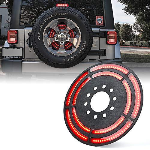 "Xprite 14"" Spare Tire Brake Light, 3rd LED Rear Wheel Lights Third Tail Lamp for 2007-2018 Jeep Wrangler JK & 2018+ Jeep Wrangler JL/JLU"