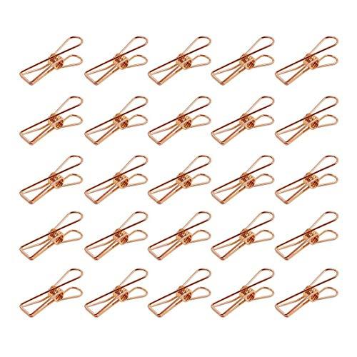 tellaLuna Paquete de 25 clips de metal pequeños de oro rosa – Pinzas multiusos para tendedero