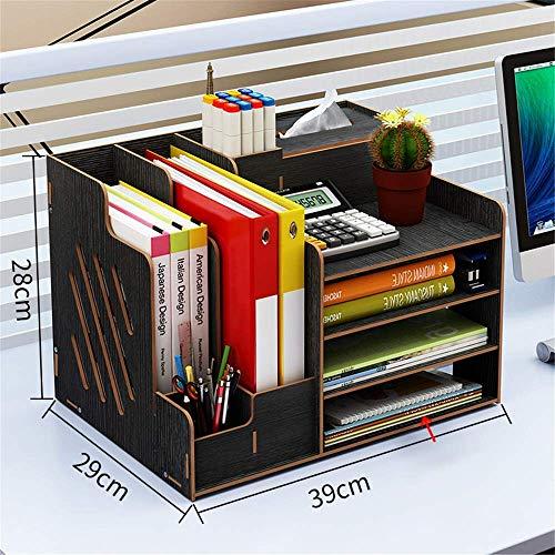 ZHENAO Caja de Alenamiento de Oficina Libros Carpetas de Archivos de Madera Oficina Oficina Organizador Bookshelf Desktop Soporte Estacionario Caja para Soporte de Escritorio de Cor