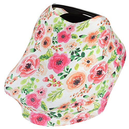 4-In-1 Infant Nursing Breastfeeding Cover for Baby Girls (Floral) - Car Seat Canopy, Shopping Cart, High Chair & Stroller Covers, Stretchy & Breathable Infinity Scarf & Shawl by KiddyStar