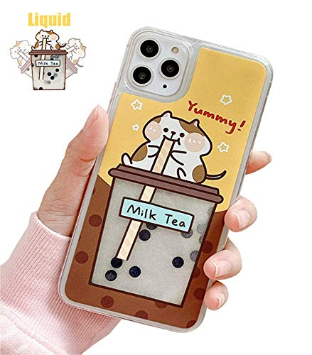 UnnFiko Bear Liquid Case Compatible with iPhone XR, Cute Cartoon Bubble Tea Animal Quicksand Moving Glitter Case TPU Protective Cover (Cat White, iPhone XR)