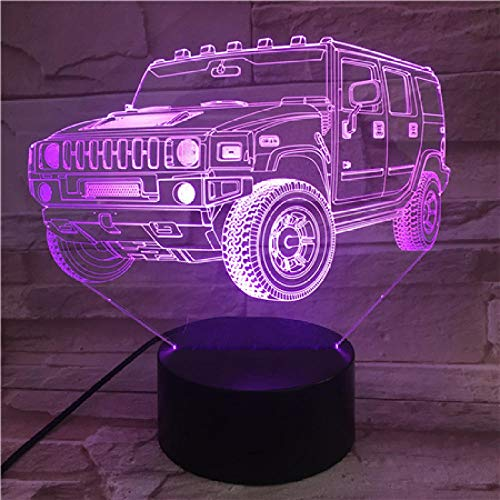 3D LED Night Light LED Night Light with Jeep Off-Road Basic Stack ad Light up Your Dreams Changing Gaming Room Decor Children Gift with USB Charging, Colorful Color Change