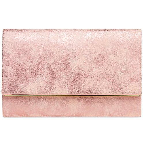 Caspar TA381 Damen elegante Clutch Tasche Abendtasche mit langer Kette, Farbe:rosa, Größe:One Size