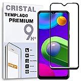 REY Protector de Pantalla Curvo para Samsung Galaxy M02 - M02s - A02 - A02s, Negro, Cristal Vidrio Templado Premium, 3D / 4D / 5D, Anti Roturas