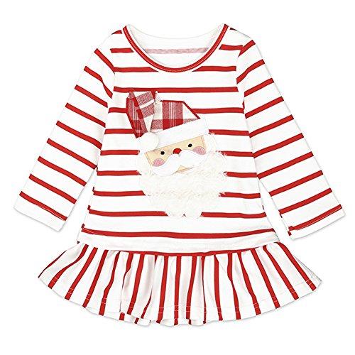 MEIHAOWEI Bébé Filles à Manches Longues Noël Santa Claus Dress C8