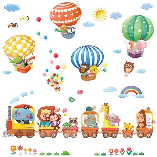 DECOWALL DS-8006P8024 Treno con Animali e Mongolfiere Adesivi da Parete Decorazioni Parete Stickers Murali Soggiorno Asilo Nido Camera da Letto per Bambini (Piccolo)