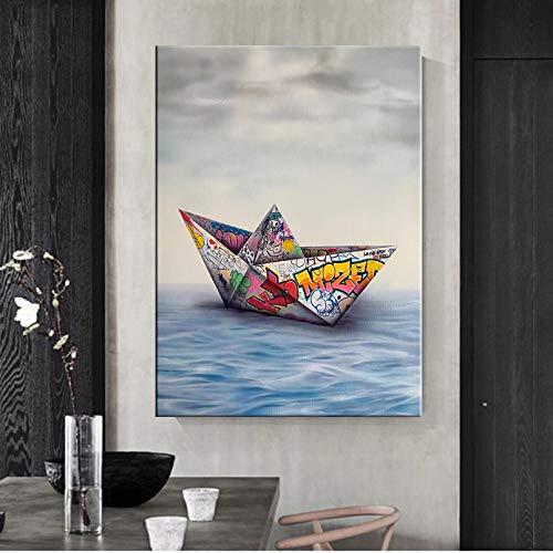 N/A Impresión 3D De La Pintura De La Lona Origami Papel Graffiti Barco Arte De La Pared Lienzo Pintura E Imágenes Murales para La Sala De Estar Decoración del Hogar