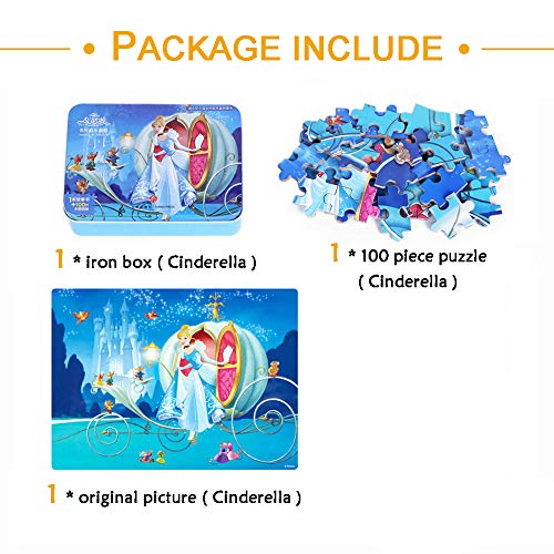 NEILDEN Disney Puzzles in a Metal Box 100 Piece Cinderella Jigsaw Puzzles for Kids Ages 4-8 Puzzles for Girls and Boys for Children Learning Educational Puzzles (Cinderella)