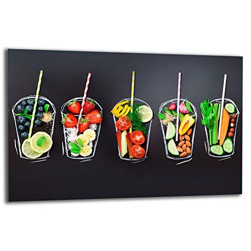 TMK | Placa de 80 x 52 cm 1 pieza para cubrir la vitrocerámica, protección contra salpicaduras, placa de cristal decorativa para cortar Miks verduras
